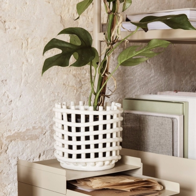 Ceramic Basket - Off White - Small