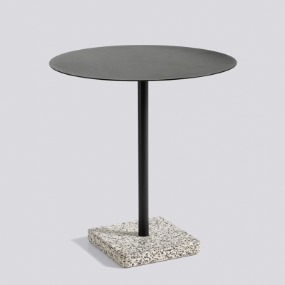 Round Terrazzo Table - Grey Base - Charcoal Top