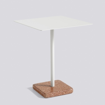 Square Terrazzo Table - Red Base - Light Grey Top