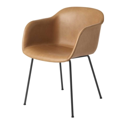 Fiber Armchair - Tube Base - Leather Shell