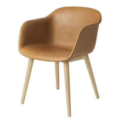 Fiber Armchair - Wood Base - Leather Shell