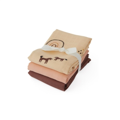 Rainbow Muslin Square Blankets - Rose (set of 3)