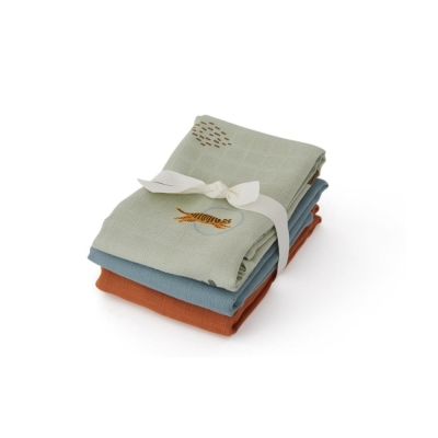 Tiger Muslin Square Blankets - Green (set of 3)